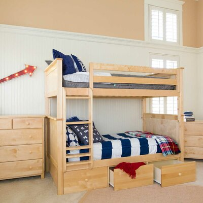Bunk Bed with 3 Storage Drawer Size: Full over Full, Finish: Natural