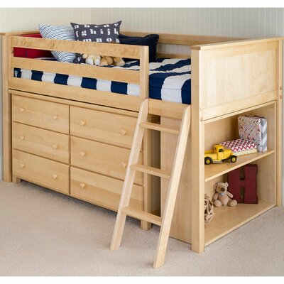 Twin Loft Bed with Dresser and Bookcase Finish: Natural