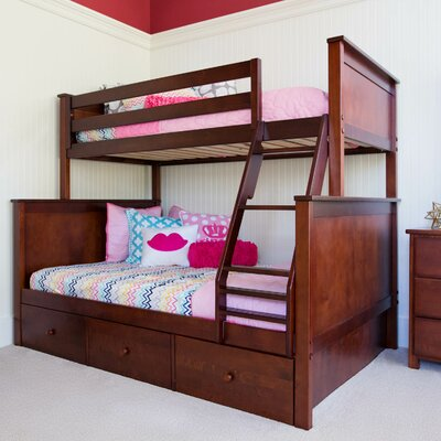 Bunk Bed with 3 Storage Drawer Finish: Dark Cherry, Size: Twin over Twin