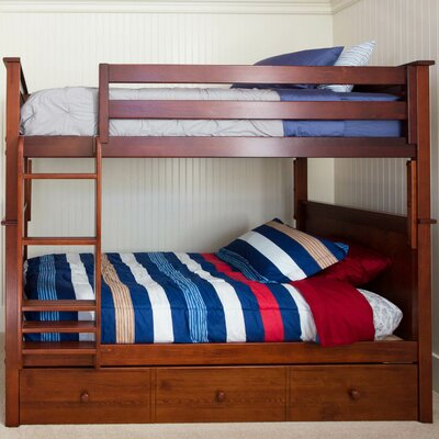Bunk Bed with Trundle Storage Finish: Dark Cherry, Size: Twin over Twin