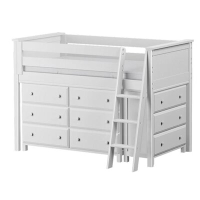 Twin Loft Bed with 2 Dresser Finish: White