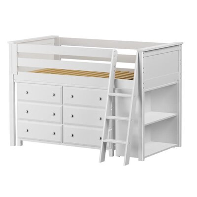 Twin Loft Bed with Dresser and Bookcase Finish: White