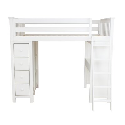 All-in-One Twin Standard Bed with Drawers Finish: White