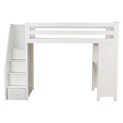 All-in-One Standard Twin Bed with Staircase Finish: White