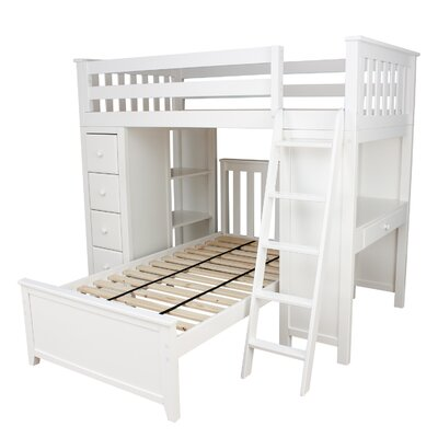 Ayres Twin Standard Bed with Drawers Color: White
