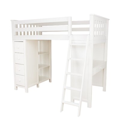 Ayres Twin Loft Bed with Drawers Color: White