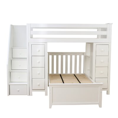 All-in-One Twin Standard Bed with Staircase Finish: White