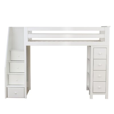Ayres Twin Wood Loft Bed with Staircase Color: White