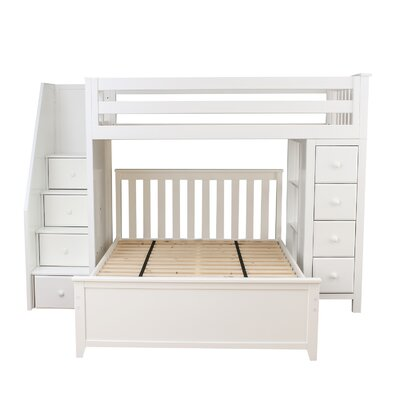 All-in-One Standard Full Bed with Staircase Finish: White