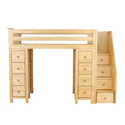 Ayres Twin Loft Bed with Staircase Color: Natual