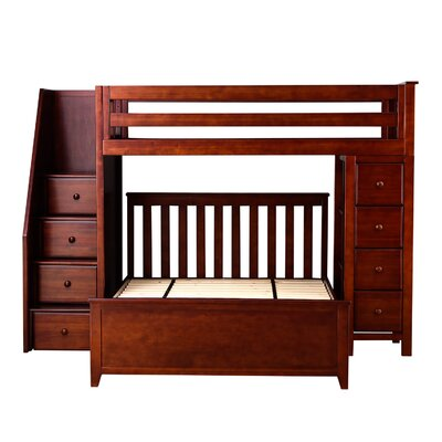 All-in-One Standard Full Bed with Staircase Finish: Cherry