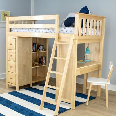 Ayres Twin Loft Bed with Drawers Color: Natual