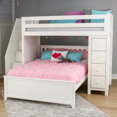 Ayres Twin Wood Standard Bed with Staircase Color: White