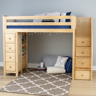 Ayres Twin Wood Loft Bed with Staircase Color: Natual