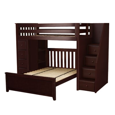 Ayres Twin Wood Standard Bed with Staircase Color: Espresso