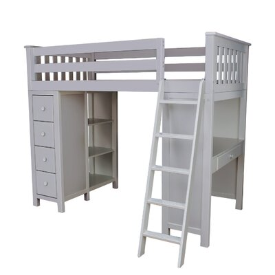 Ayres Twin Loft Bed with Drawers Color: Grey