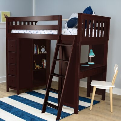 Ayres Twin Loft Bed with Drawers Color: Espresso