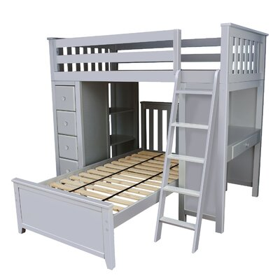 Ayres Twin Standard Bed with Drawers Color: Grey