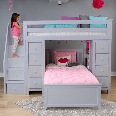 Ayres Twin Standard Bed with Staircase Color: Grey