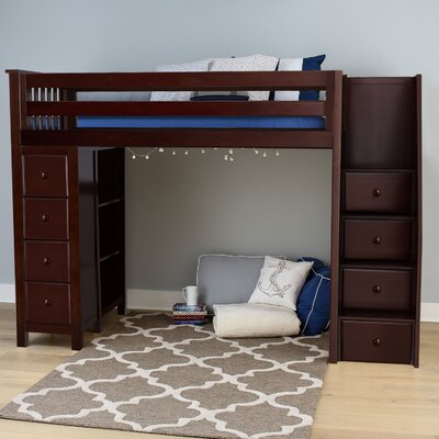 Ayres Twin Wood Loft Bed with Staircase Color: Espresso