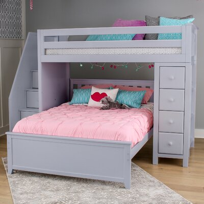 Ayres Twin Wood Standard Bed with Staircase Color: Grey