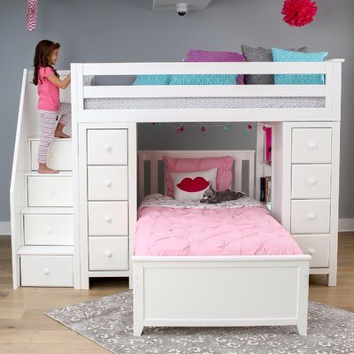 Ayres Twin Standard Bed with Staircase Color: White