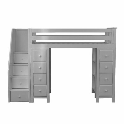 Ayres Twin Loft Bed with Staircase Color: Grey