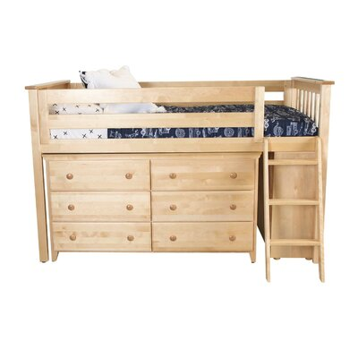 Twin Loft Bed with 2 Dresser Color: Natural