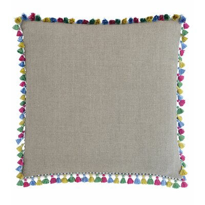 Le Pompon Tassels Linen Throw Pillow Color: Flax