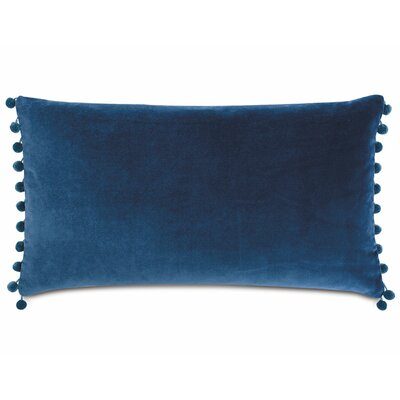 Plush Frou Frou Cotton Lumbar Pillow Color: Blue