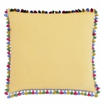 Le Pompon Tassels Linen Throw Pillow Color: Yellow