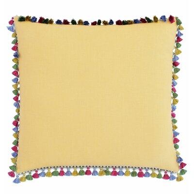 Le Pompon Tassels Linen Throw Pillow Color: Yellow