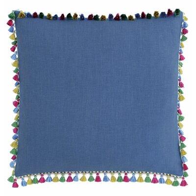 Le Pompon Tassels Linen Throw Pillow Color: Blue