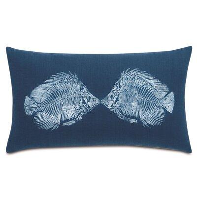 Nautical Angel Fish Lumbar Linen Pillow Color: White