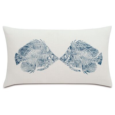 Nautical Angel Fish Lumbar Linen Pillow Color: Blue