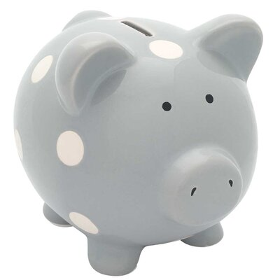 Classic Ceramic Piggy Bank Color: Gray