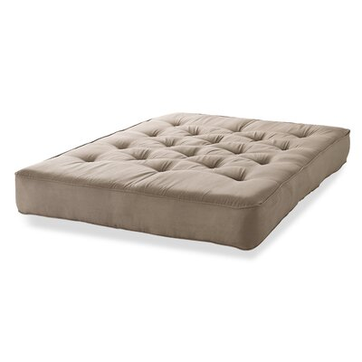 8 Innerspring Full Size Futon Mattress Color: Taupe Microfiber