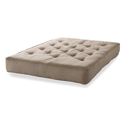 6 Innerspring Full Size Futon Mattress Color: Taupe Microfiber