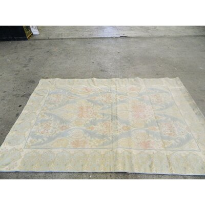 Hand-Woven Pastel Blue/Beige Area Rug