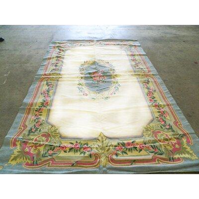 Hand-Woven Pastel Blue/White/Green Area Rug