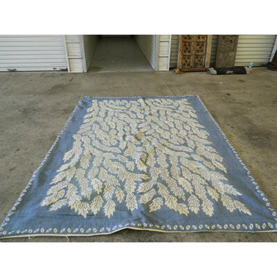 Needle Point Hand-Woven Blue/Beige Area Rug