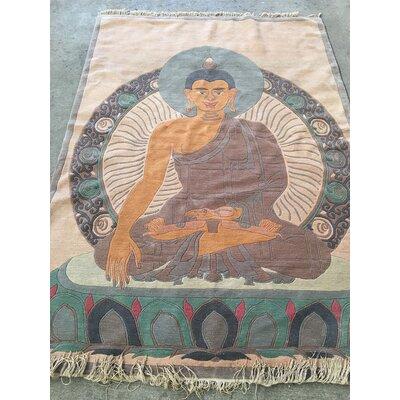 Buddha Hand-Knotted Beige/Blue Area Rug