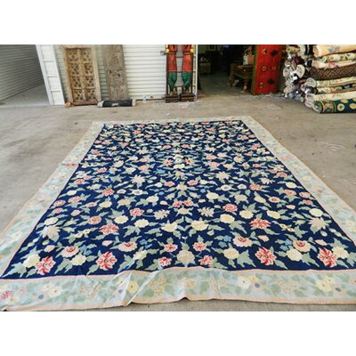 Chain Stitch Blue/Red Area Rug