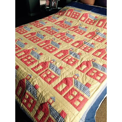 School House Hand Quilted Patchwork Quilt