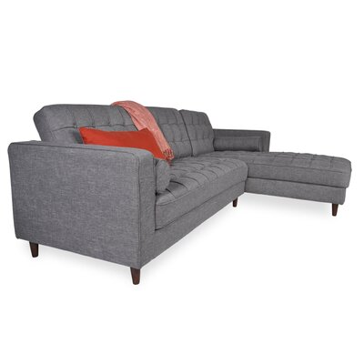 Charles Sectional Orientation: Right Hand Facing, Upholstery: Ash gray