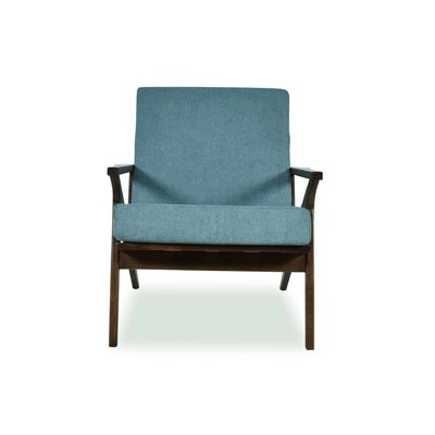 Hendrix Arm Chair Upholstery: Turquoise, Finish: Dark Ashwood
