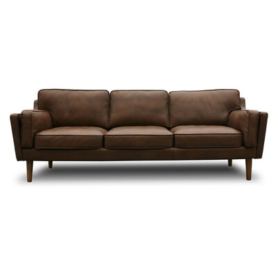 Kaufman Mid Century Modern Leather Sofa