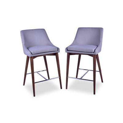 Dalton Mid Century Modern 25.5 Bar Stool Upholstery: Light Gray
