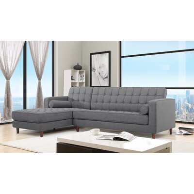 Charles Sectional Orientation: Left Hand Facing, Upholstery: Gray