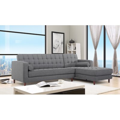 Charles Sectional Orientation: Right Hand Facing, Upholstery: Gray